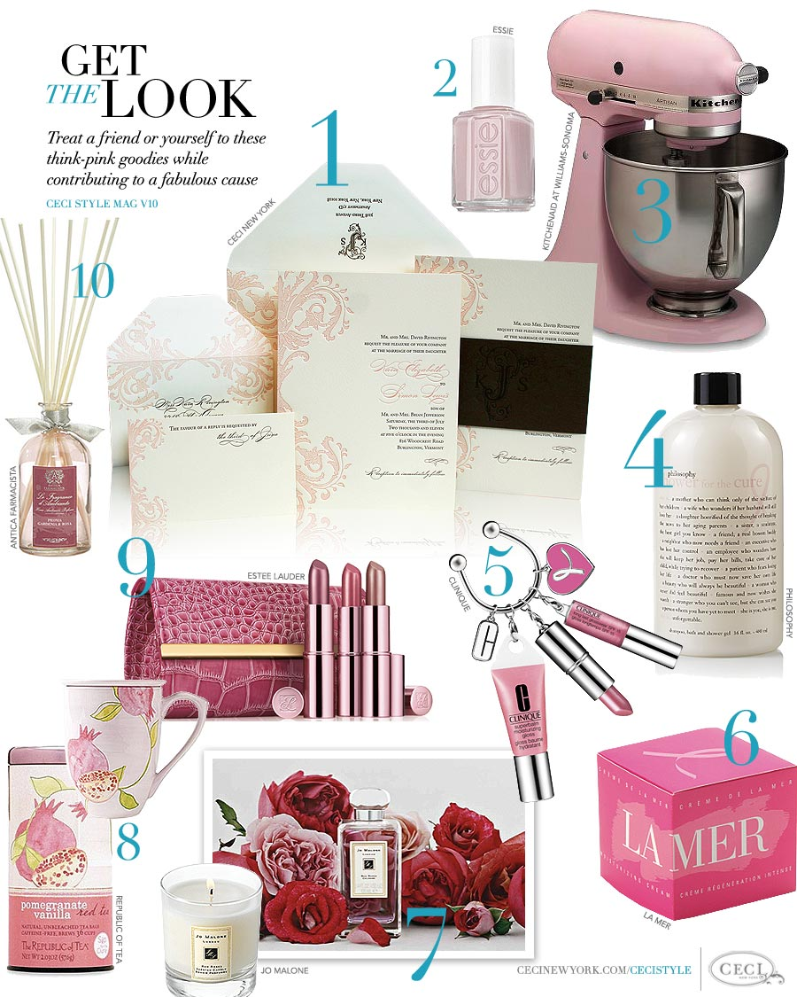 CeciStyle Magazine v10: Get The Look - Breast Cancer Awareness - Treat a friend or yourself to these think-pink goodies while contributing to a fabulous cause