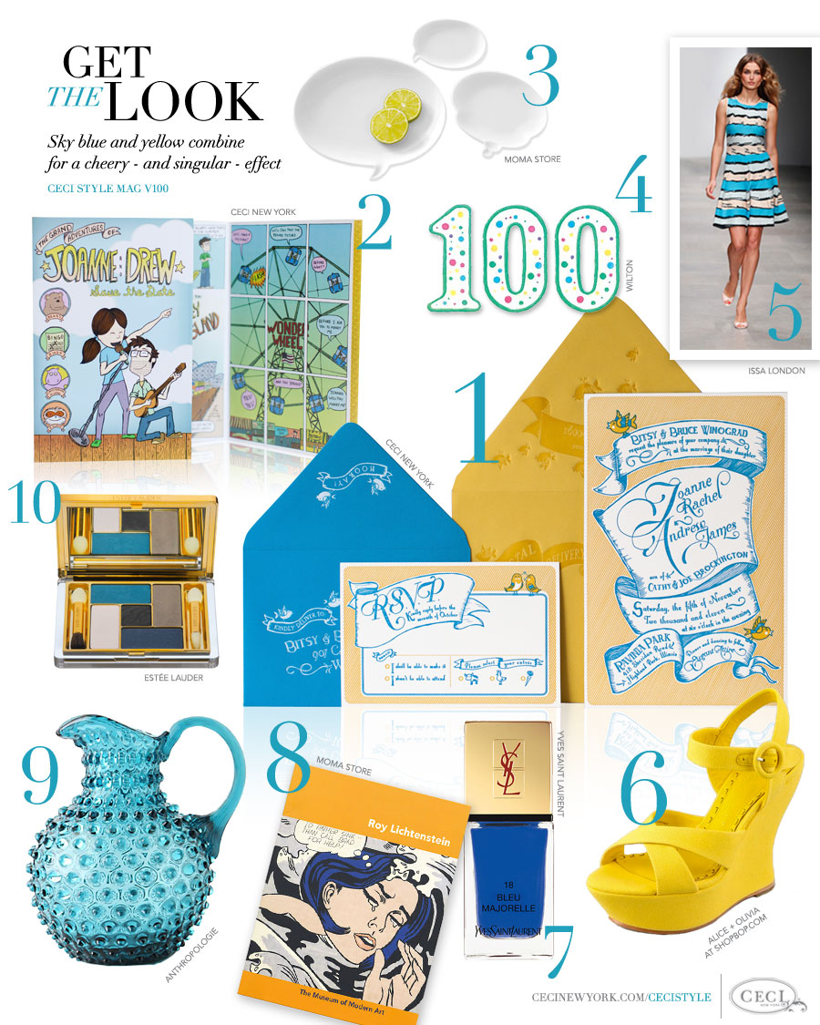 CeciStyle Magazine v100: Get The Look - Our 100th Issue! - Sky blue and yellow combine for a cheery – and singular – effect