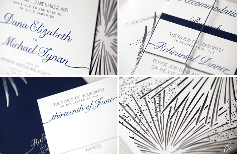 Luxury Wedding Invitations by Ceci New York - Our Muse - Festive Vermont Wedding - Be inspired by Dana & Michael's festive wedding in Vermont - wedding, invitations, letterpress printing, foil printing, lasercut printing