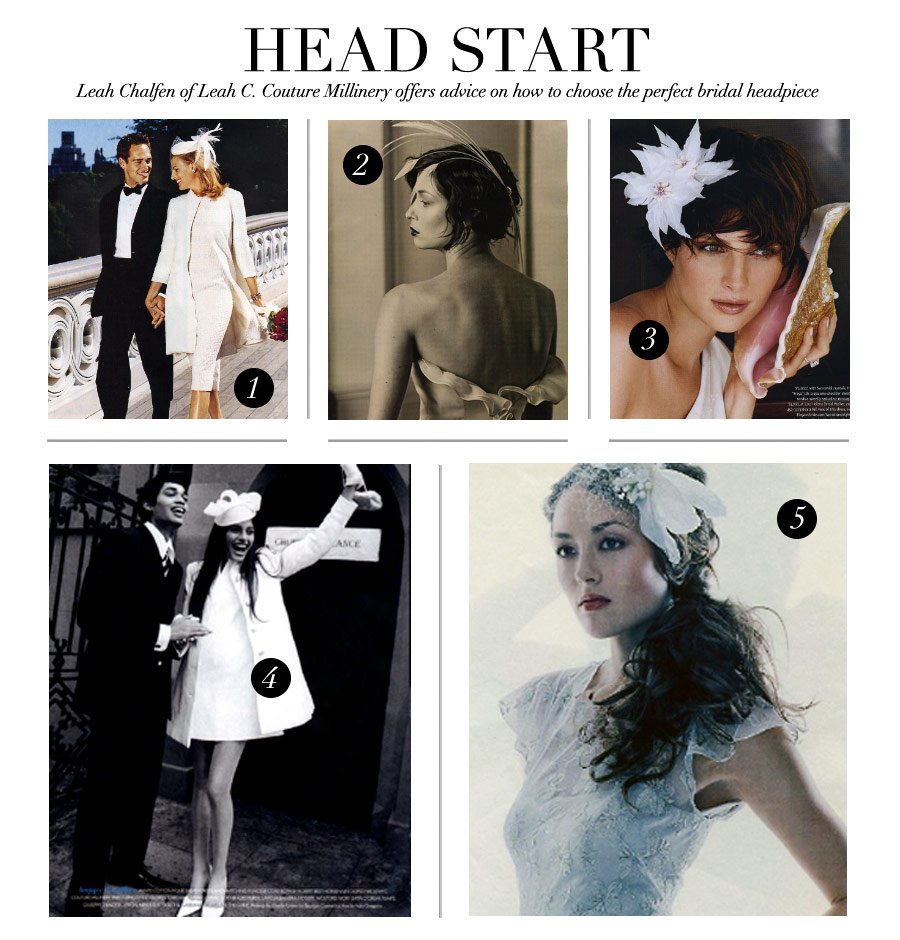 Head Start - Leah Chalfen of Leah C. Couture Millinery offers advice on how to choose the perfect bridal headpiece