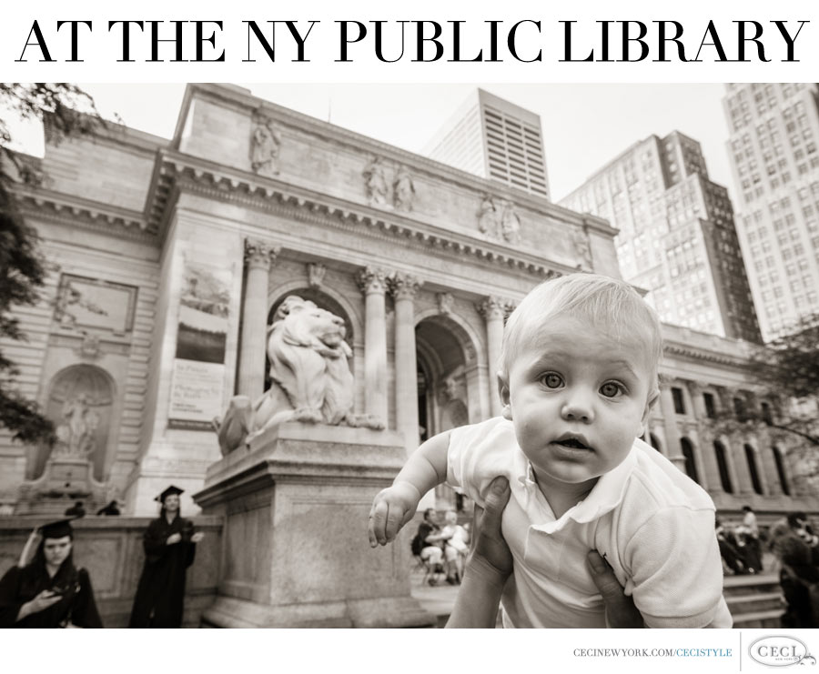 Ceci Johnson of Ceci New York - Baby Mason in the City - At the NY Public Library