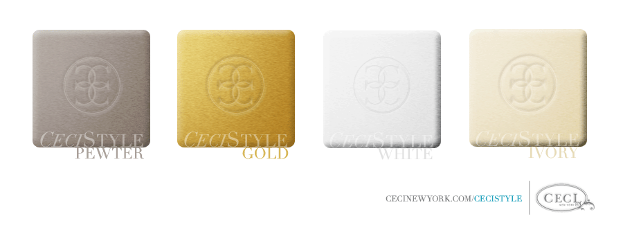 Ceci's Color Stories - Pewter & Gold Wedding Colors - color swatches, gold, ivory, pewter, wedding, white