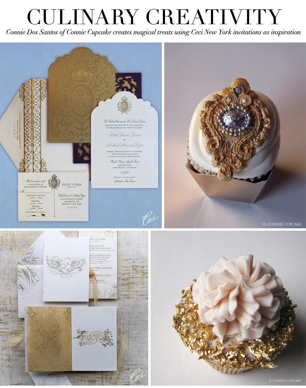 Culinary Creativity - Connie Dos Santos of Connie Cupcake creates magical treats using Ceci New York invitations as inspiration
