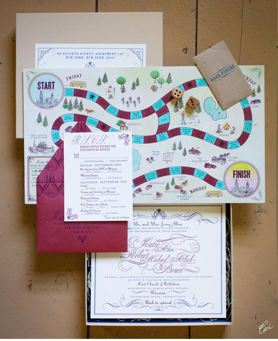 Luxury Wedding Invitations by Ceci New York - Our Muse - Playful New England Wedding - Be inspired by Katie & Robert's playful New England wedding - wedding, invitations, letterpress printing, foil printing, boxed, hand-drawn