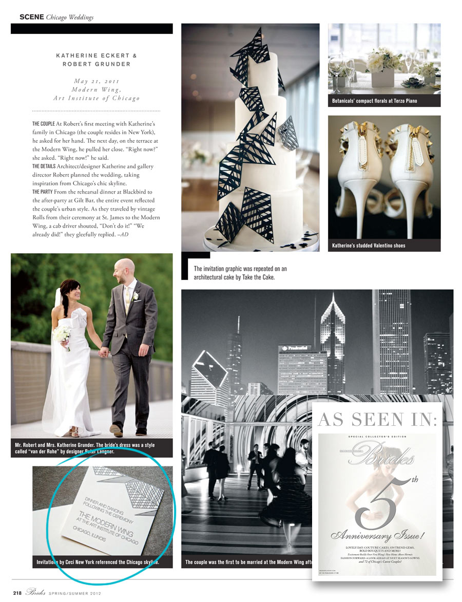 Chicago Social Brides magazine features Ceci New York's architecturally-inspired couture invitations for Katherine & Robert!