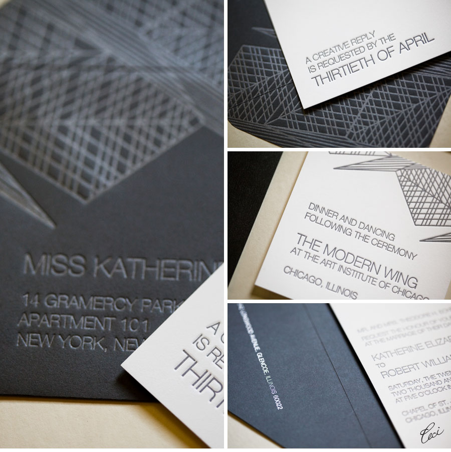 Luxury Wedding Invitations by Ceci New York - Our Muse - Modern Chicago Wedding - Be inspired by Katherine & Robert's modern wedding in Chicago - wedding, invitations, letterpress printing, die cutting