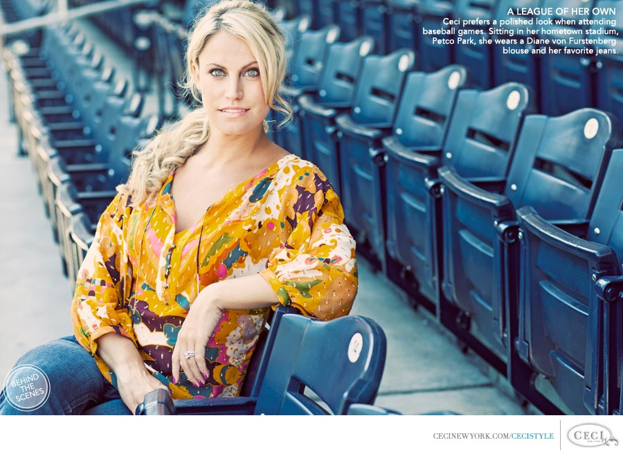 Ceci Johnson of Ceci New York - A LEAGUE OF HER OWN: Ceci prefers a polished look when attending baseball games. Sitting in her hometown stadium, Petco Park, she wears a Diane von Furstenberg blouse and her favorite jeans.