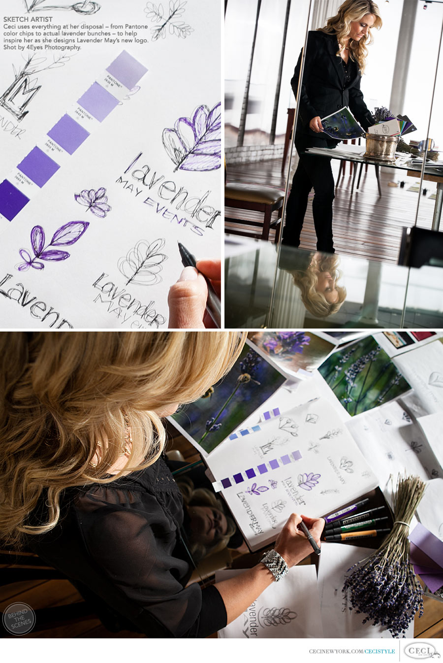 Ceci Johnson of Ceci New York - SKETCH ARTIST: Ceci uses everything at her disposal – from Pantone color chips to actual lavender bunches – to help inspire her as she designs Lavender May's new logo. Shot by 4Eyes Photography.