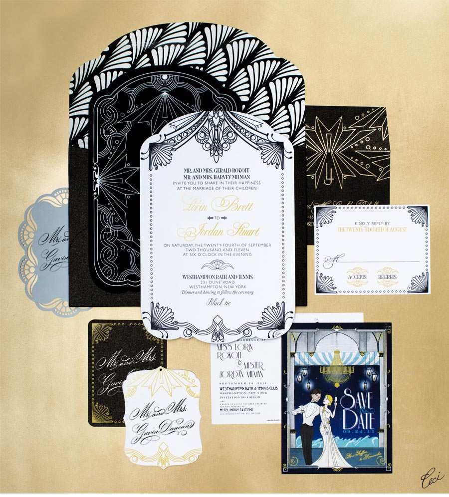 Luxury Wedding Invitations by Ceci New York - Our Muse - Modern Deco-Inspired Wedding - Be inspired by Lorin & Jordan's modern deco-inspired wedding - wedding, invitations, foil stamping, die cutting, laser cut, letterpress printing, hand calligraphy, digital printing, hand-drawn