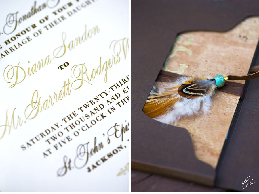 Luxury Wedding Invitations by Ceci New York - Our Muse - Chic Rustic Wedding - Be inspired by Diana & Garrett's chic rustic wedding - letterpress printing, foil printing, die cutting, digital printing