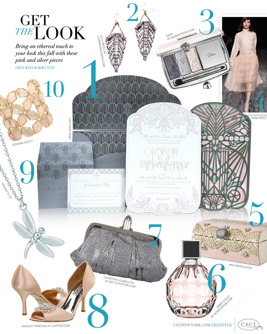 CeciStyle Magazine v113: Get The Look - Vive La Femme - Bring an ethereal touch to your look this fall with these pink and silver pieces