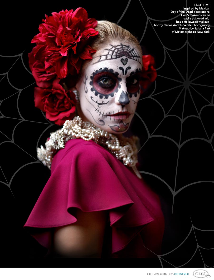 Ceci Johnson of Ceci New York - FACE TIME: Inspired by Mexican Day of the Dead decorations, Ceci's makeup can be easily achieved with basic Halloween makeup. Shot by Carlos Andrés Varela Photography. Makeup by Juliana Fink of Metamorphosis New York.