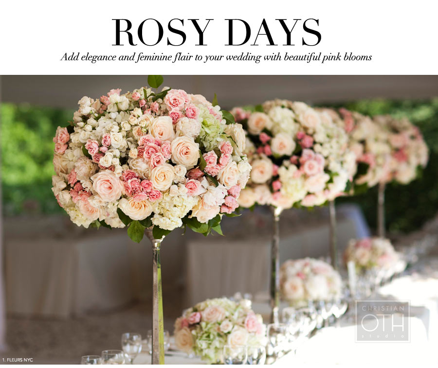 Rosy Days - Add elegance and feminine flair to your wedding with beautiful pink blooms - Flowers by Fleurs - #1: Hydrangea, majolica and Tibet roses, on a silver candelabra. Photo by Christian Oth.