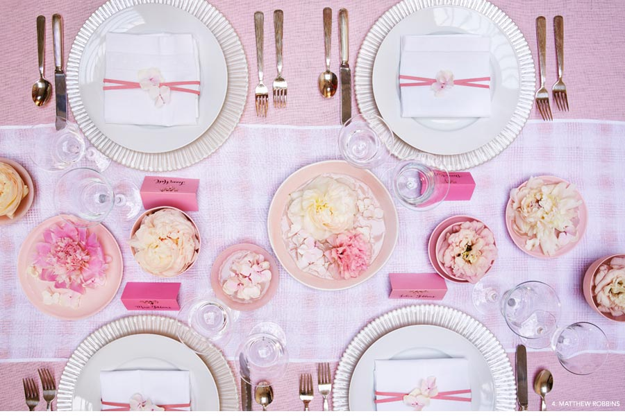 Rosy Days - Add elegance and feminine flair to your wedding with beautiful pink blooms - Flowers by Matthew Robbins Design - #4: Pink floral table spread.