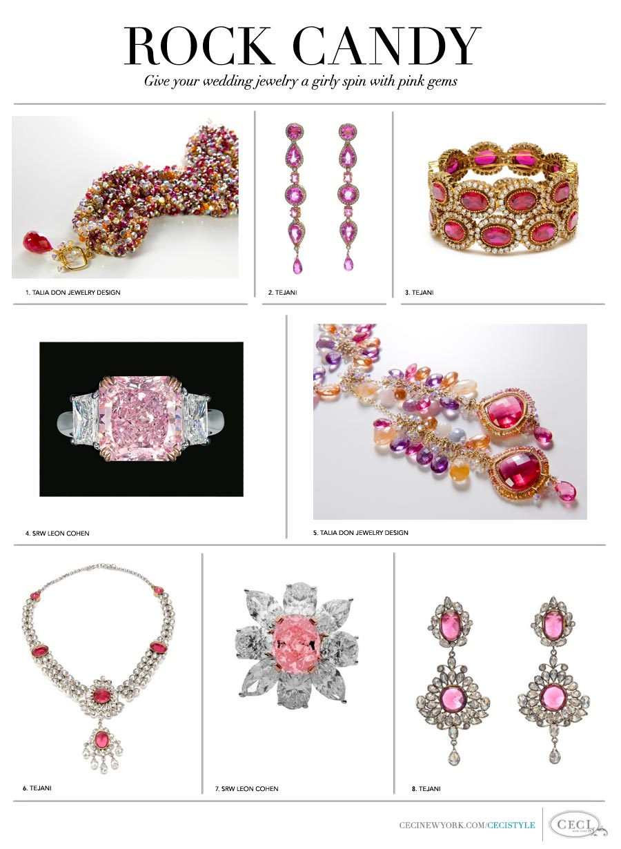 Rock Candy - Give your wedding jewelry a unique spin with pink gems