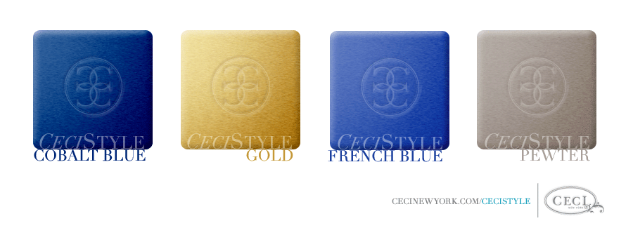 Ceci's Color Stories - Cobalt Blue & Gold Wedding Colors - color swatches, cobalt blue, gold, french blue, pewter, wedding
