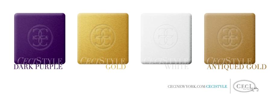 Ceci's Color Stories - Dark Purple & Gold Wedding Colors - color swatches, dark purple, gold, white, antiqued gold, wedding