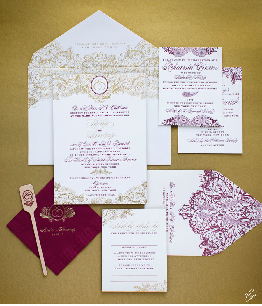 indian wedding invitations cards uk%0A V    our muse luxurious indian wedding sheila sandeep part luxury wedding  invitations by ceci new york