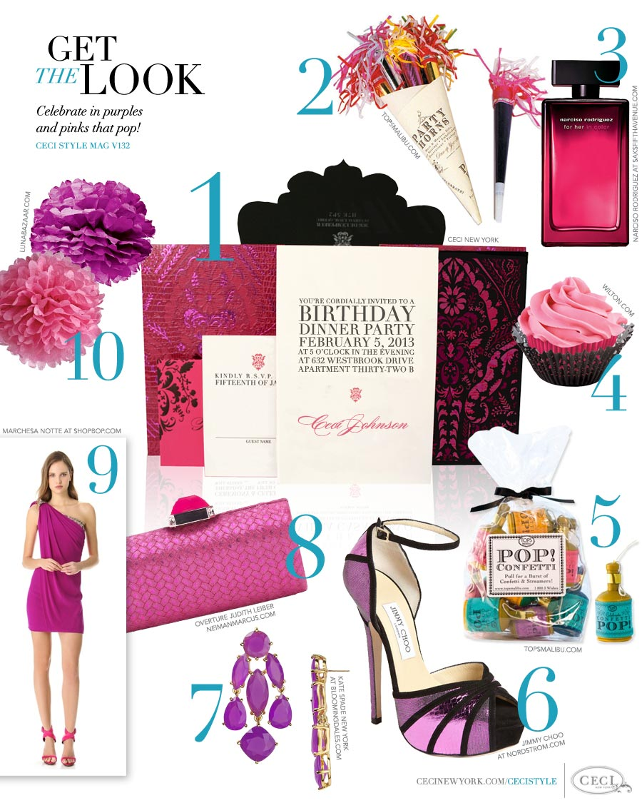 CeciStyle Magazine v132: Get The Look - Happy Birthday, Ceci! - Celebrate in purples and pinks that pop!   - Luxury wedding Invitations by Ceci New York - ceci new york, tops malibu, narcisco rodriguez, beauty, wilton, food, jimmy choo, shoes, kate spade, jewelry, overture judith leiber, handbags, marchesa notte, fashion, luna bazaar