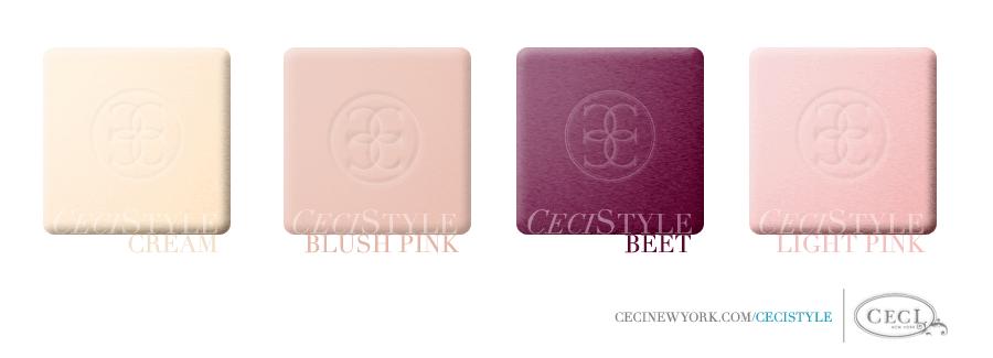 Ceci's Color Stories - Cream & Blush Pink Wedding Colors - color swatches, cream, blush pink, beet, light pink, wedding