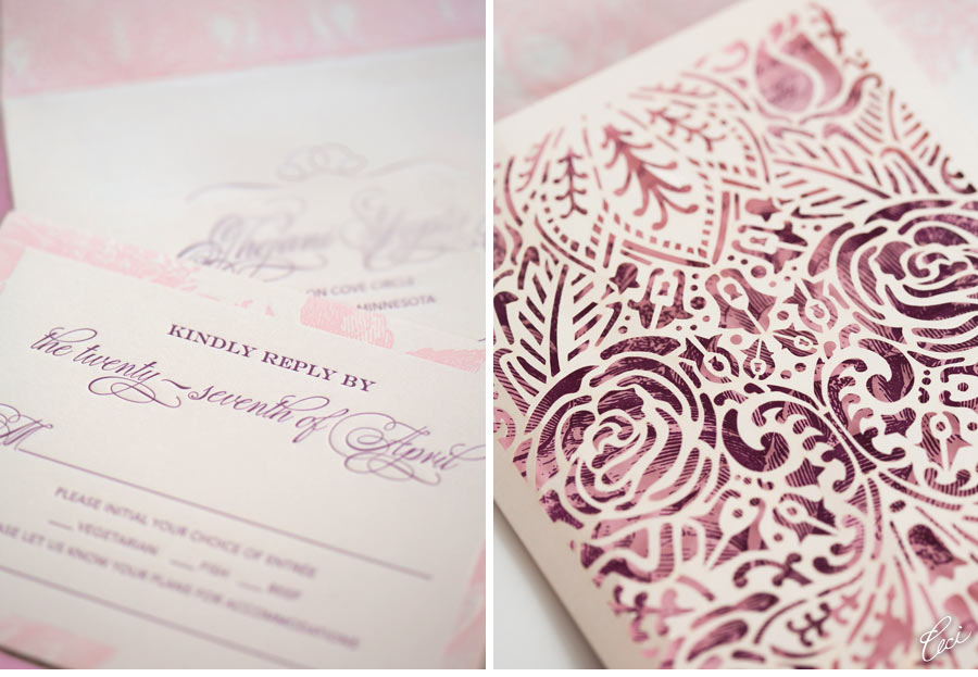 V133 our muse blushing pink wedding erangani kevin for Laser cut wedding invitations houston