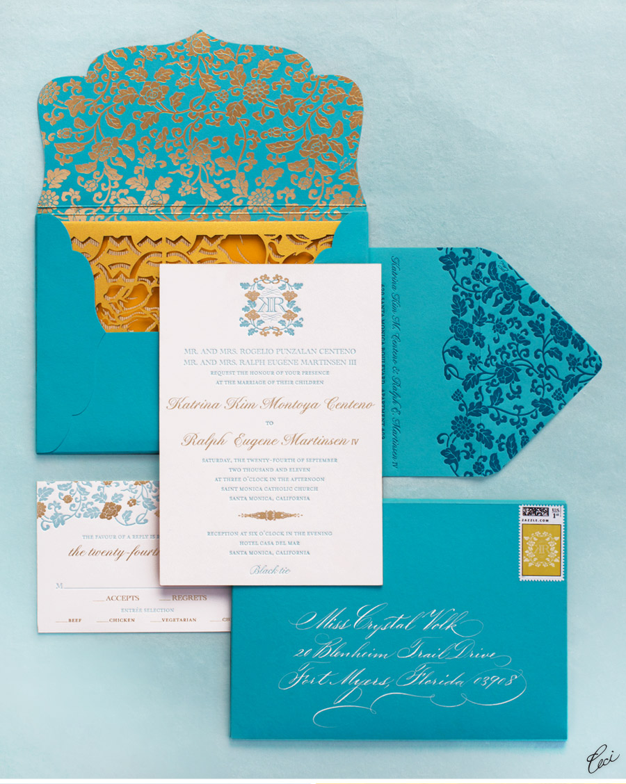 Luxury Wedding Invitations by Ceci New York - Our Muse - Floral-Inspired Wedding - Be inspired by Kim & Marty's sweet Santa Monica wedding - wedding, invitations, letterpress printing, foil stamping