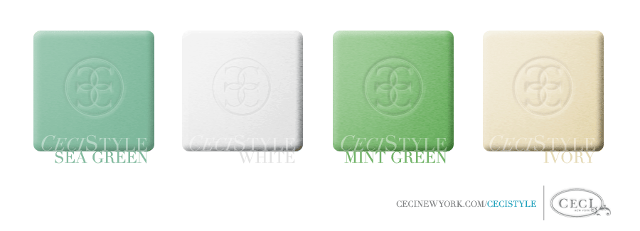 Ceci's Color Stories - Sea Green & White Wedding Colors - color swatches, sea green, white, mint green, ivory, wedding