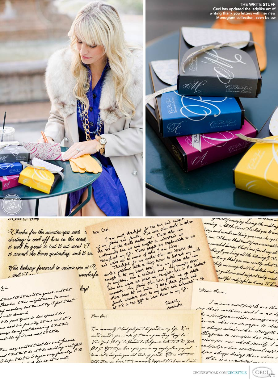 Ceci Johnson of Ceci New York - THE WRITE STUFF:  Ceci has updated the ladylike art of writing thank you letters with her new Monogram collection, seen below.