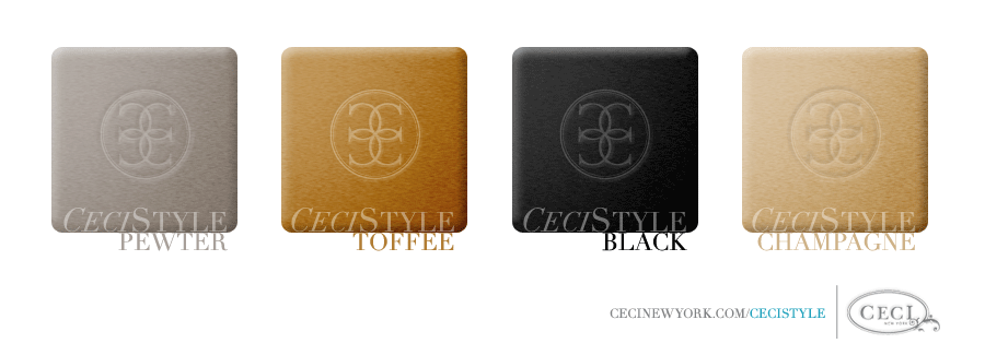 Ceci Color Stories - Pewter & Toffee Wedding Colors - color swatches, black, champagne, pewter, toffee, wedding