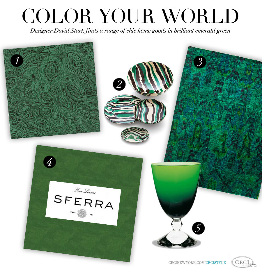 Color Your World - Designer David Starck finds a range of chic home goods in brilliant emerald green