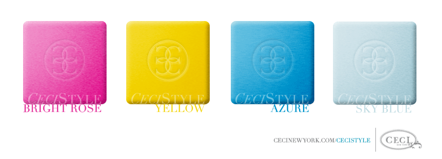 Ceci's Color Stories - Sky Blue & Azure Wedding Colors - color swatches, bright rose, yellow, azure, sky blue, wedding