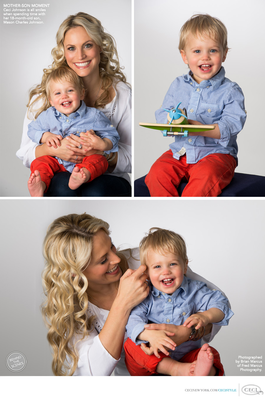 Ceci Johnson of Ceci New York - MOTHER-SON MOVEMENT - Ceci Johnson is all smiles when spending time with her 18-month-old son Mason Charles Johnson. Shot by Brian Marcus of Fred Marcus Photography.