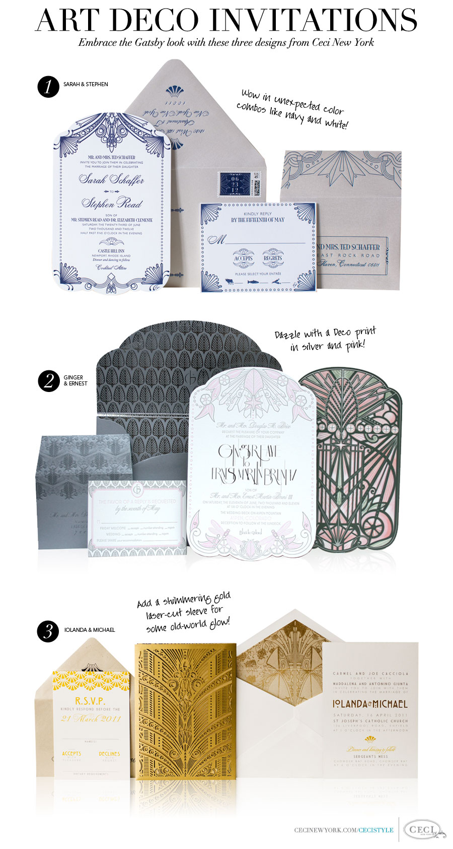 Art Deco Invitations - Embrace the Gatsby look with these three designs from Ceci New York