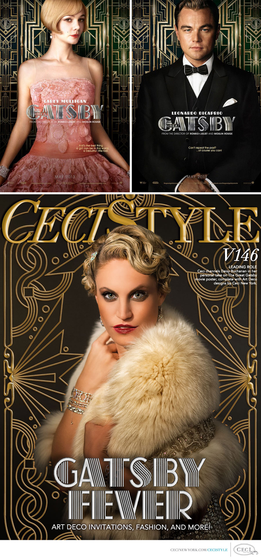 Ceci Johnson of Ceci New York - LEADING ROLE - Ceci channels Daisy Buchanan in her personal take on The Great Gatsby movie poster, complete with Art Deco designs by Ceci New York. Shot by Brian Marcus of Fred Marcus Photography.
