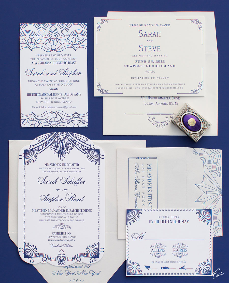 Luxury Wedding Invitations by Ceci New York - Our Muse - 1920's-Inspired Outdoor Wedding - Be inspired by Sarah &#038; Stephens 1920s-style outdoor wedding - wedding, letterpress printing, invitations