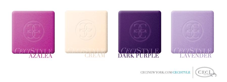 Ceci's Color Stories - Azalea & Dark Purple Birthday Party Colors - color swatches, azalea, cream, dark purple, lavender, event