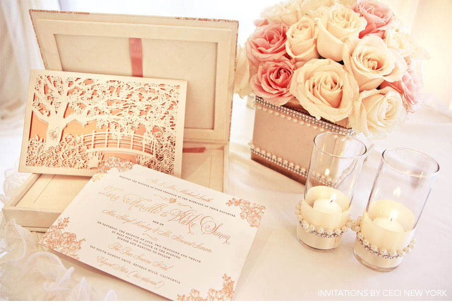 Our Muse - Romantic Rose Gold Wedding - Be inspired by Tara & Blake's romantic rose gold wedding - wedding, invitations, letterpress printing, foil printing, laser-cut
