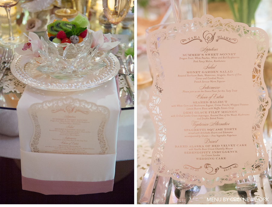 Our Muse - Romantic Rose Gold Wedding - Be inspired by Tara & Blake's romantic rose gold wedding - wedding, menus, place cards, escort cards, placemats, table signs