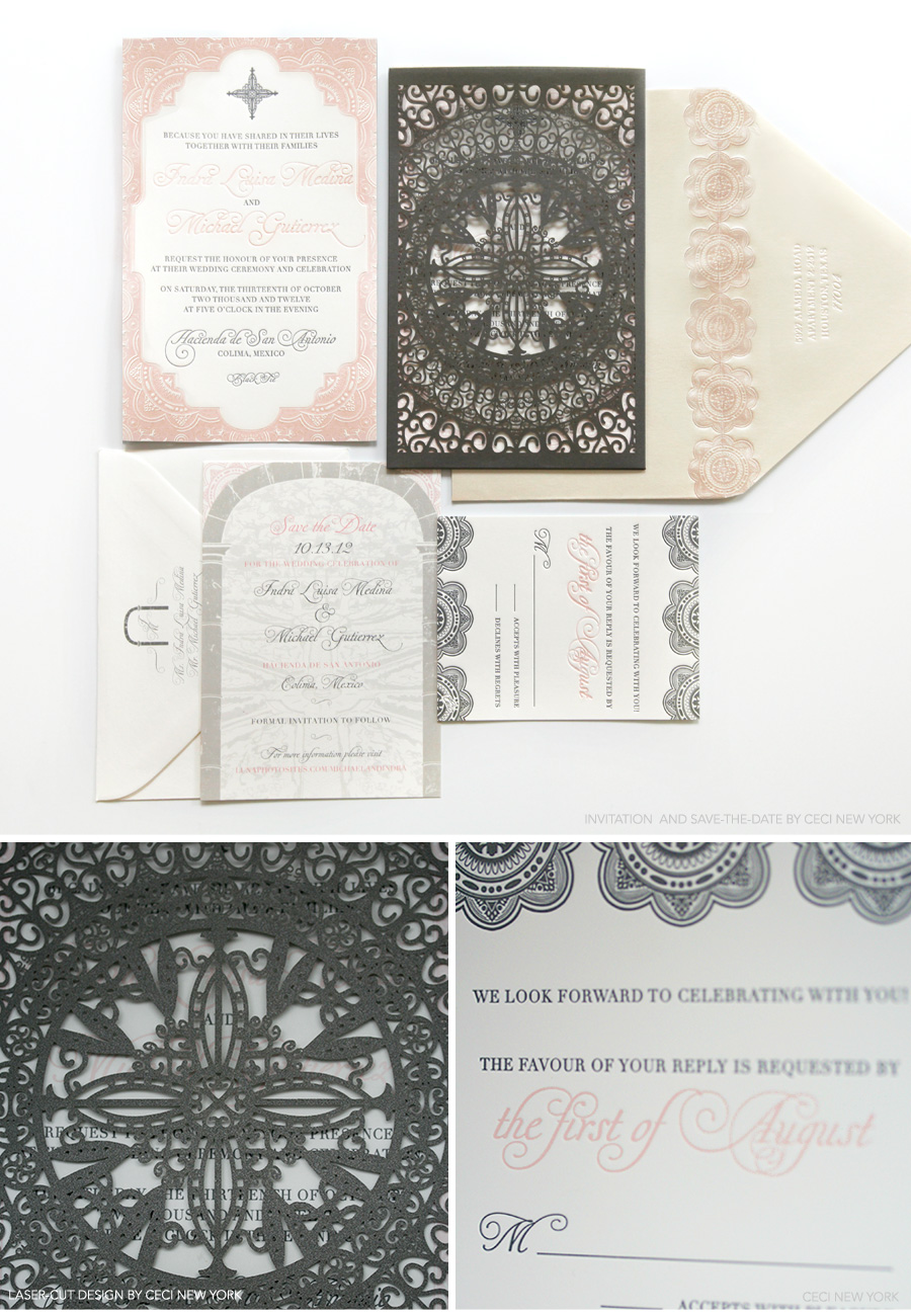 v our muse dreamy mexican wedding indra michael part 1 mexican wedding invitations Luxury Wedding Invitations by Ceci New York Our Muse Dreamy Mexican Wedding Be