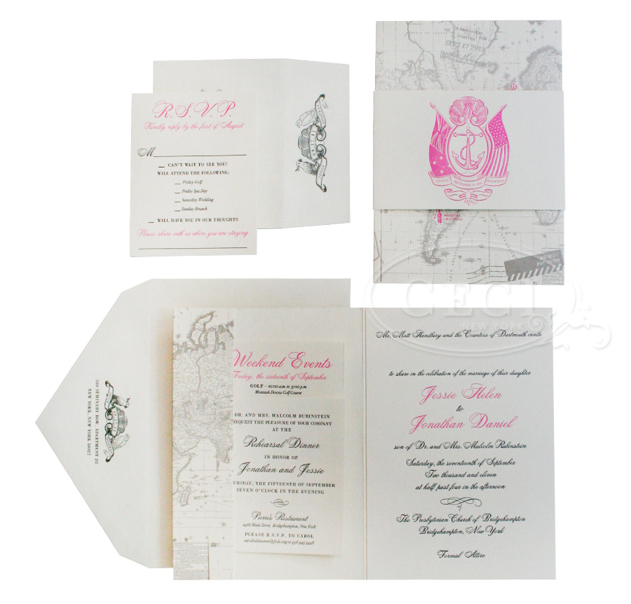 Luxury Wedding Invitations by Ceci New York - Our Muse - Sweet Seaside Wedding in Pink and Gray - Be inspired by Jessie & Jonathan's sweet beach wedding on Long Island - invitations, letterpress printing, offset printing, wedding