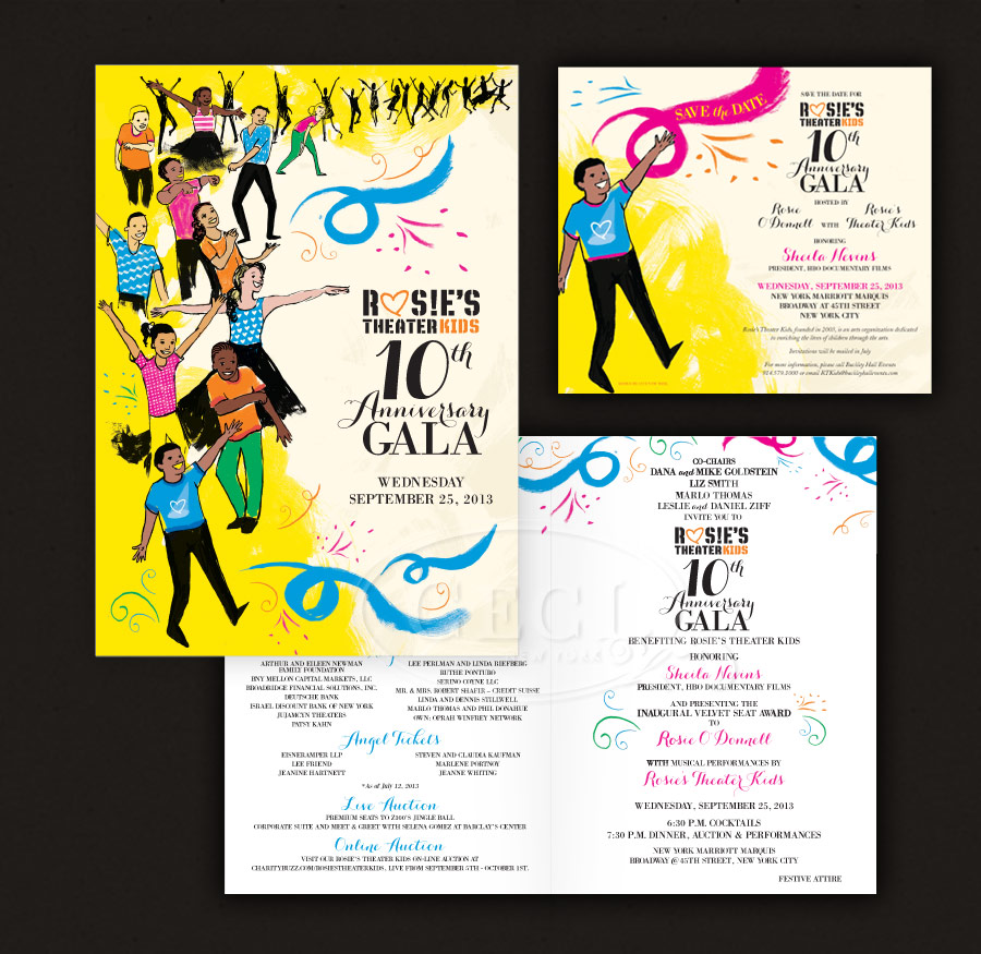 Our Muse - Rosie's Theater Kids' 10th Anniversary Gala - Ceci New York created the program for the 10th Anniversary Gala of Rosie's Theater Kids - ceci johnson, rosie's theater kids, non-profit branding, non-profit design