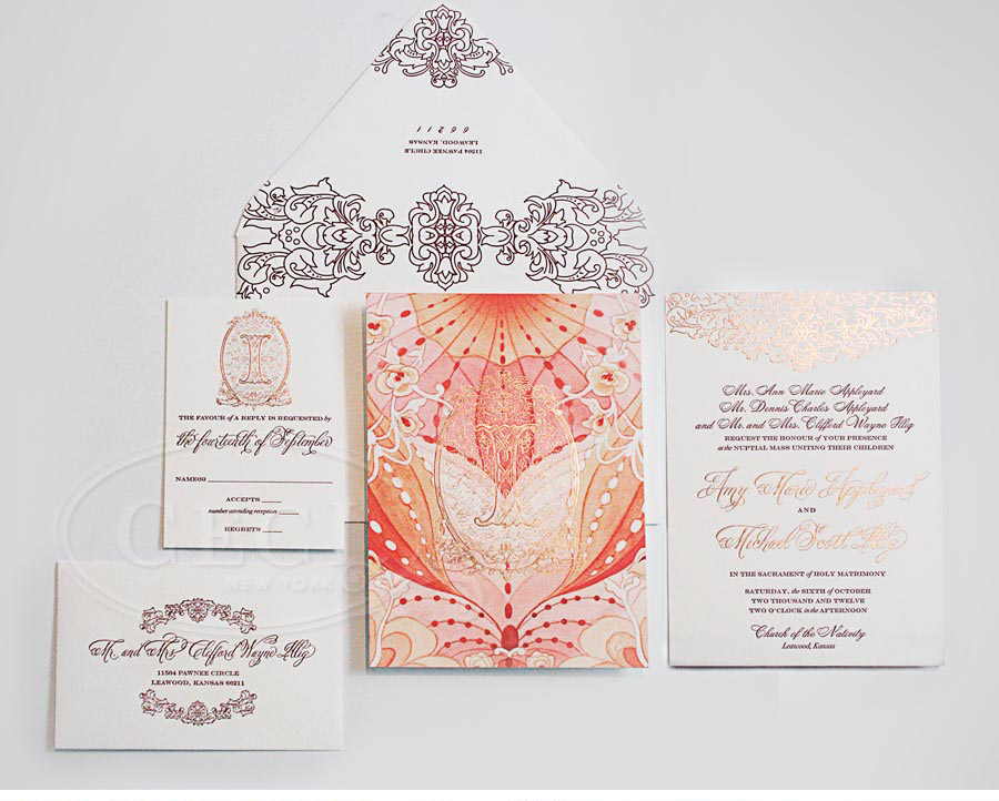 Luxury Wedding Invitations by Ceci New York - Our Muse - Elegant Watercolor Wedding - Be inspired my Amy & Michael's elegant watercolor wedding - letterpress printing, foil printing, watercolor, monogram, wedding, invitations