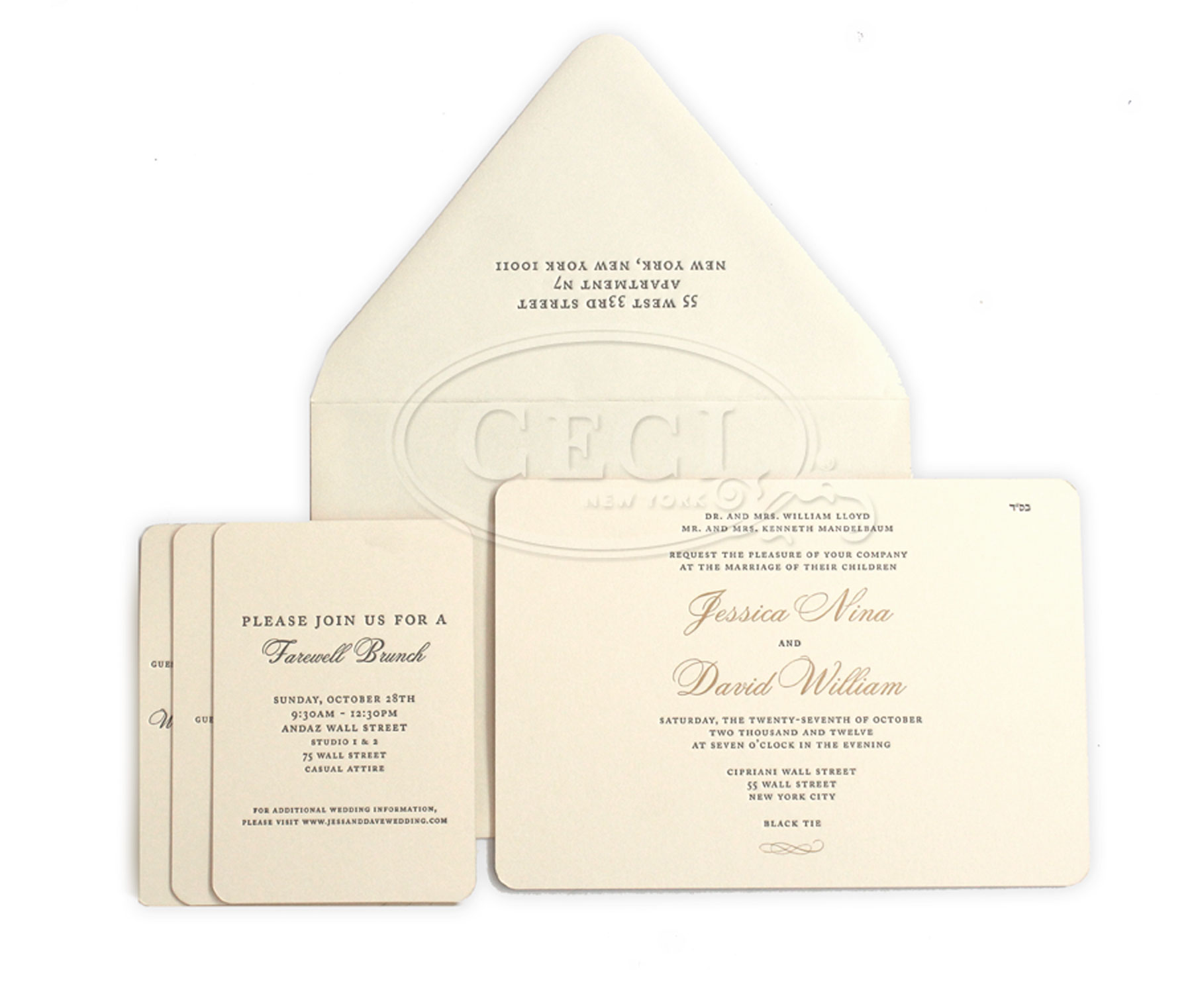Luxury Wedding Invitations by Ceci New York - Our Muse - Classic, Elegant New York Wedding at Cipriani - Be inspired by Jessica and David's classic, elegant New York wedding at Cipriani - wedding, invitation, letterpress printing, ceci new york, rounded edges, gold, ivory