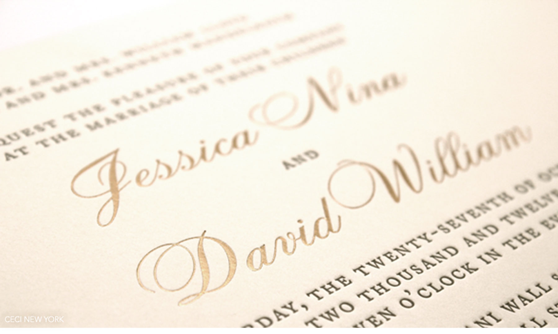 Luxury Wedding Invitations by Ceci New York - Our Muse - Classic, Elegant New York Wedding at Cipriani - Be inspired by Jessica and David's classic, elegant New York wedding at Cipriani - Ceci New York Luxury Wedding Invitations - wedding, invitation, letterpress printing, ceci new york, rounded edges, gold, ivory