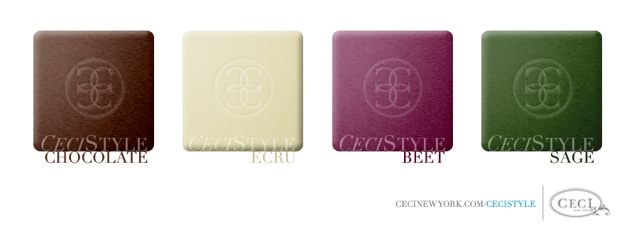 Ceci Color Stories - Chocolate & Ecru Wedding Colors - color swatches, beet, chocolate, ecru, sage, wedding