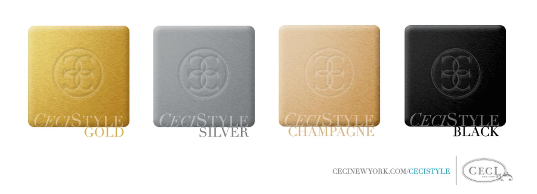 Ceci's Color Stories - Black, Gold & Silver Event Colors - color swatches, gold, silver, champagne, black, event