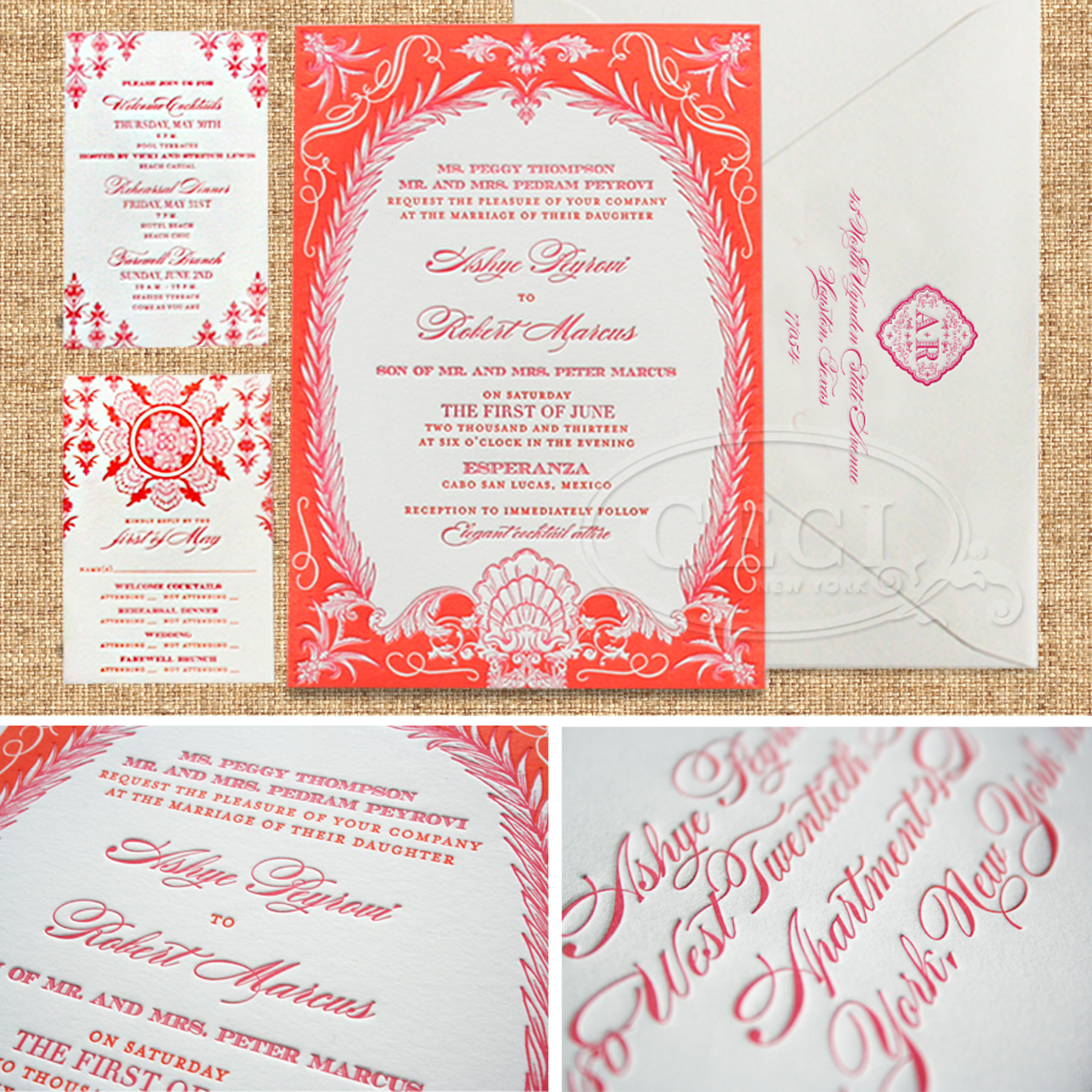 Luxury Wedding Invitations by Ceci New York - Our Muse - Stylish Destination Wedding - Be inspired by Ashye & Robert's chic destination wedding in Cabo San Lucas, Mexico - letterpress printing, invitation, ceci new york, tropical, destination, wedding, mexico, orange, hot pink