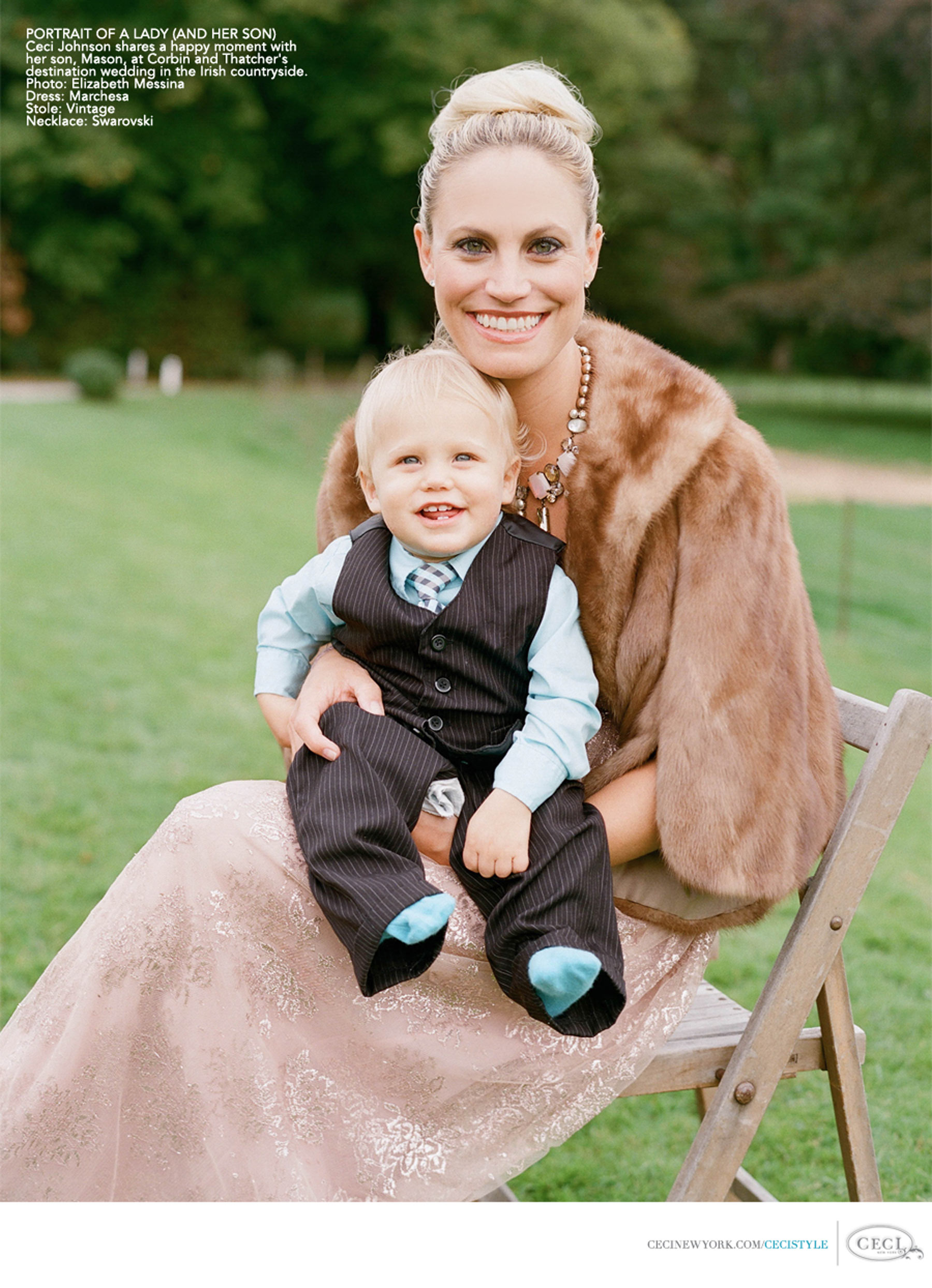 Ceci Johnson of Ceci New York - PORTRAIT OF A LADY (AND HER SON): Ceci Johnson shares a happy moment with her son, Mason, at Corbin and Thatcher's destination wedding in the Irish countryside. Photo: Elizabeth Messina. Dress: Marchesa. Stole: Vintage. Necklace: Swarovski.