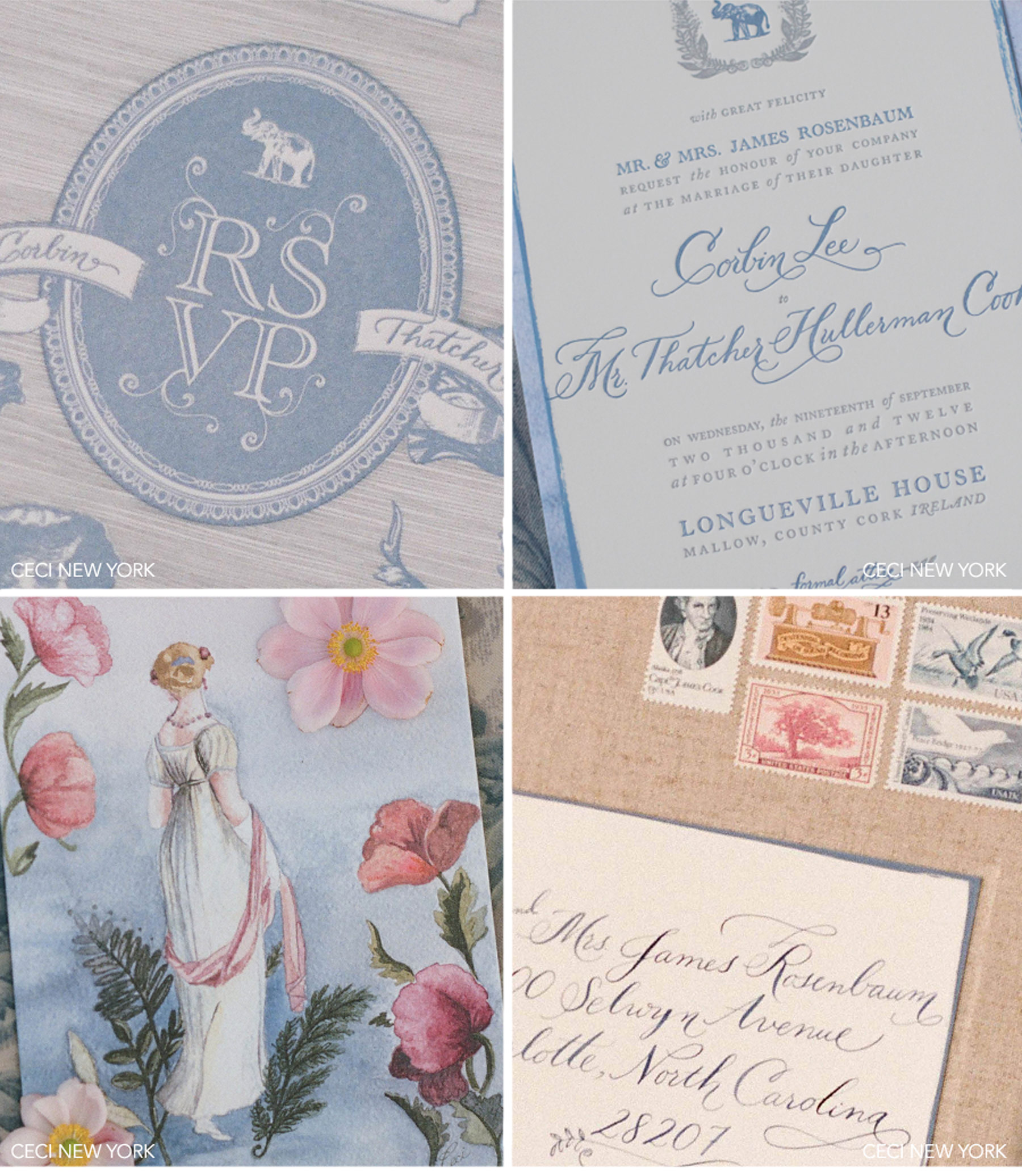 Luxury Wedding Invitations by Ceci New York - Our Muse - Old World-Inspired Wedding - Be inspired by Corbin and Thatcher's romantic, vintage-influenced destination wedding in Ireland - destination wedding, ireland, old world, vintage-influenced, wedding, invitations, emblem, stereograph, letterpress, watercolor, die-cut, ribbon, postcard, pink, blue, light blue