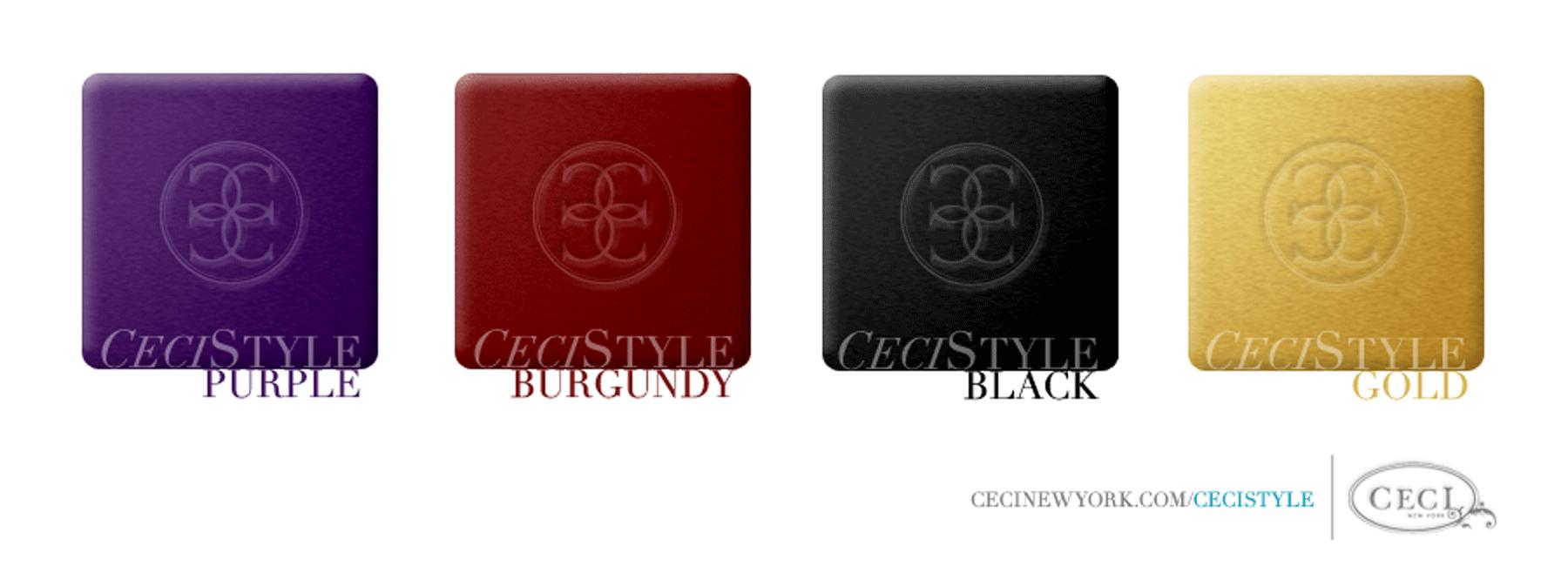 Ceci's Color Stories - Black & Gold Wedding Colors - color swatches, purple, burgundy, black, gold, wedding